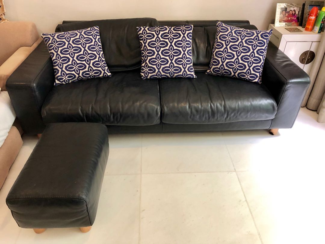 Brilliant Genuine Leather Sofa 3 Seater Plus Matching Ottoman Frankydiablos Diy Chair Ideas Frankydiabloscom