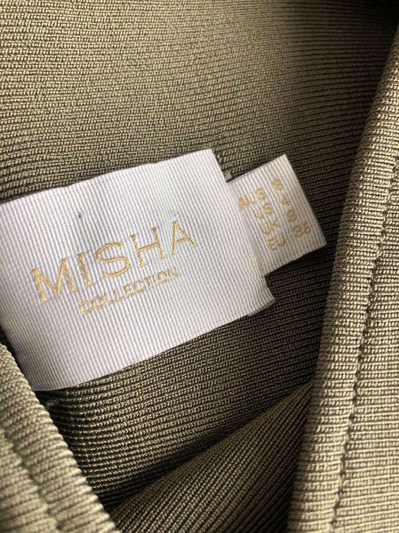 Misha Collection Solange Midi Bodycon Dress - Khaki