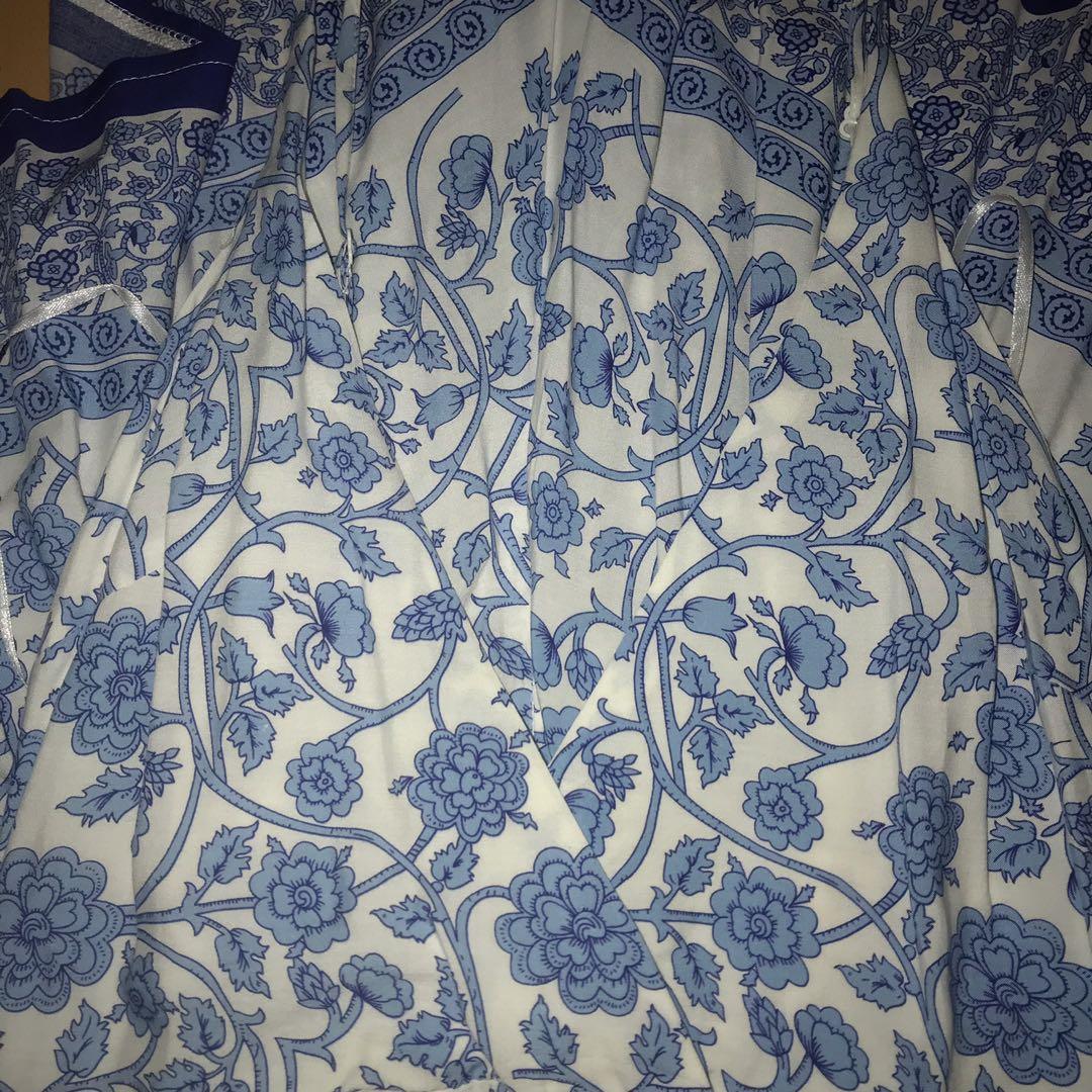 Morning Mist floral blue and white halter neck playsuit