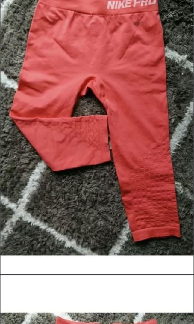 Nike pro red coral tights 3/4 3 quarter length. Size small