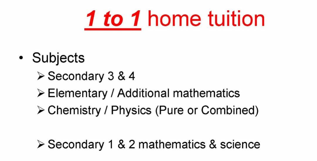 O LEVELS CHEMISTRY PHYSICS MATHEMATICS MATH TUITION FULL TIME TUTOR