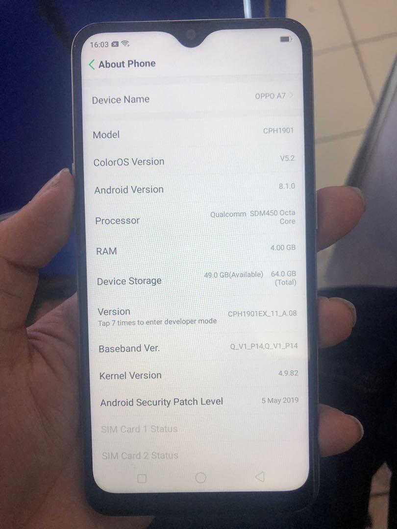 Oppo a7 4gb 64gb on Carousell