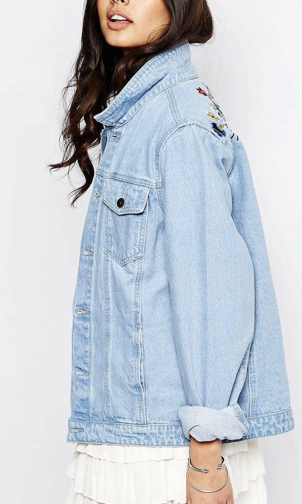 Oversized Denim Jacket with embroidery