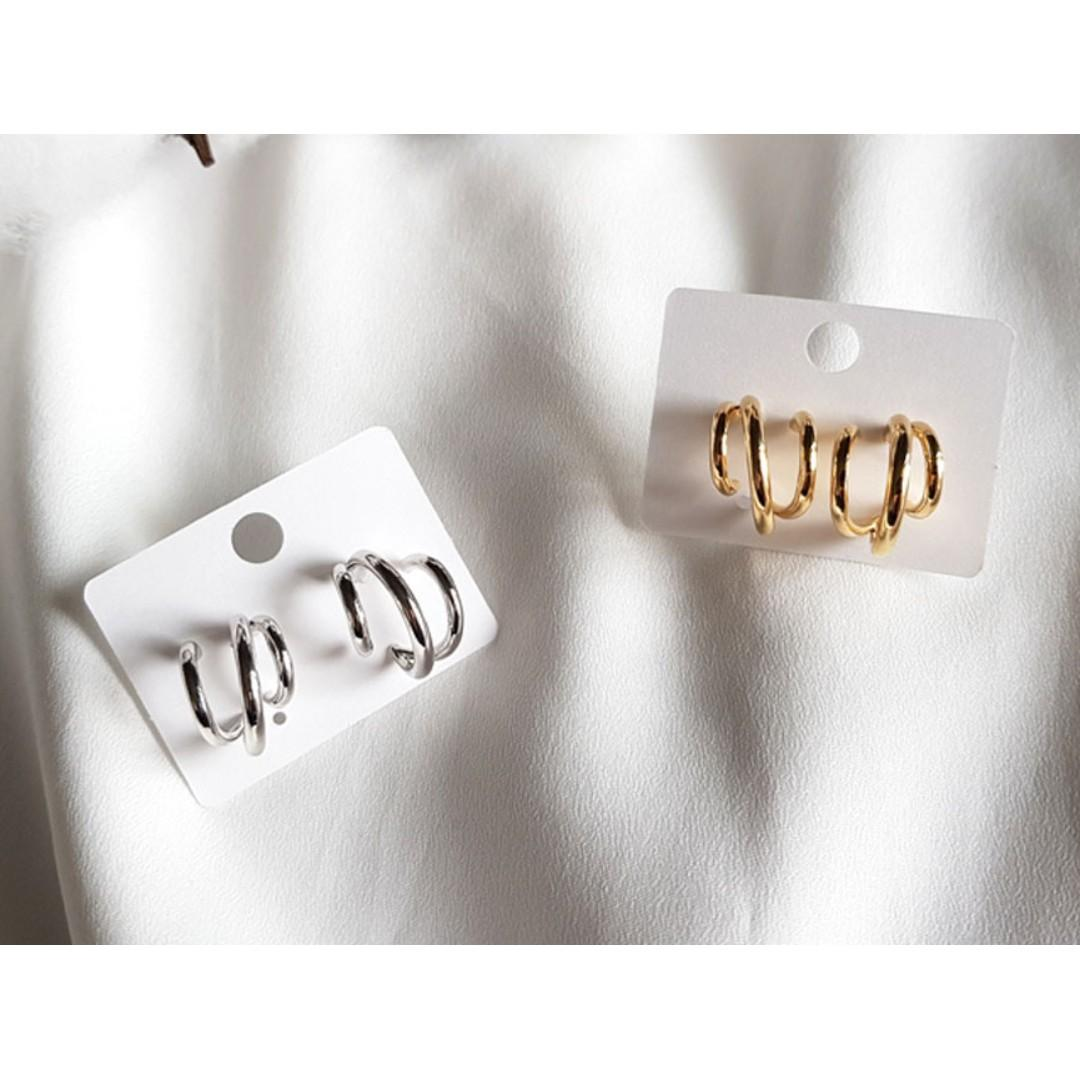Premium Made in Korea 3 Hoop Song Hye Kyo Earrings 925 Silver Needle Brand New SA-94268