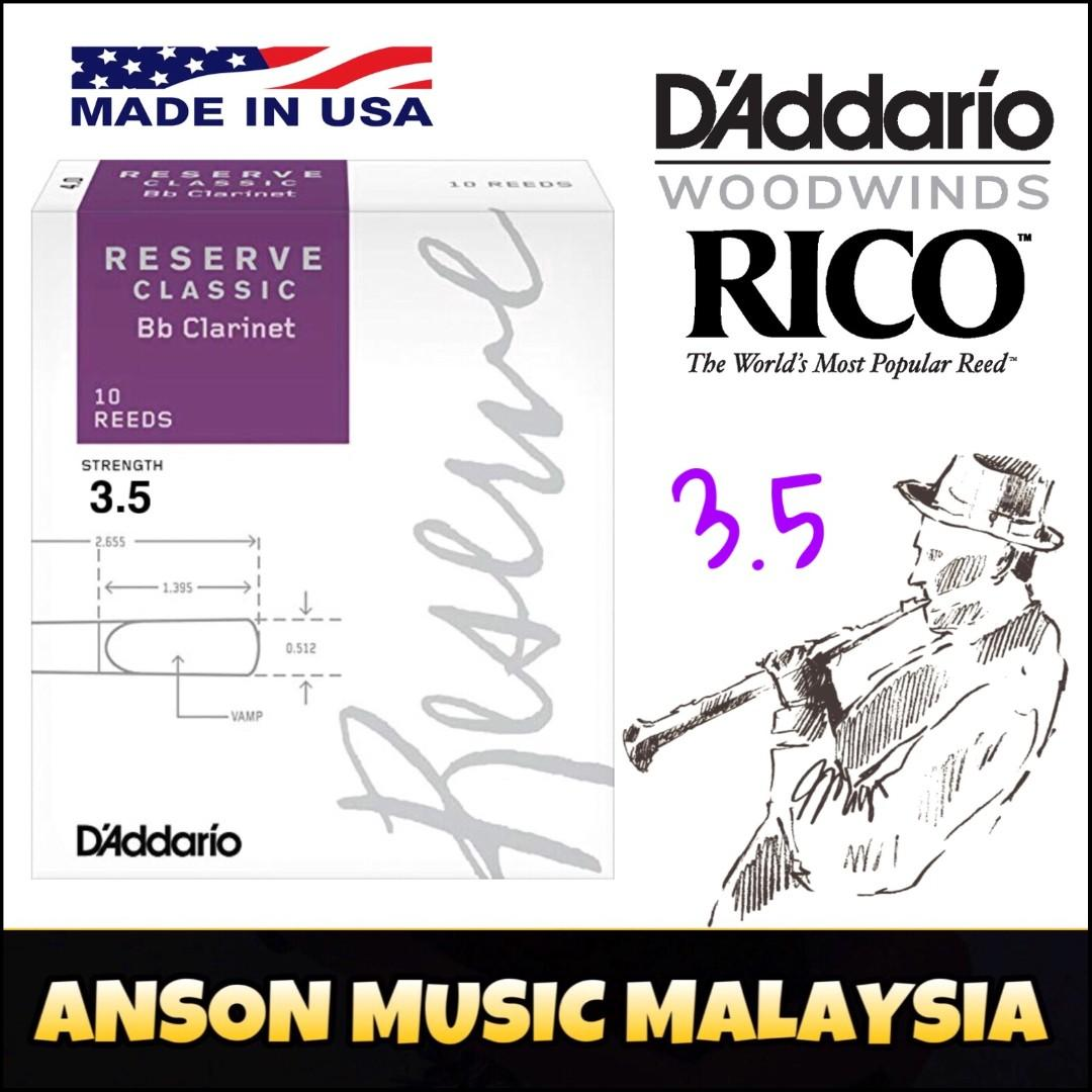 Rico by D'Addario Reserve Classic Bb Clarinet Reed, Strength 3.5