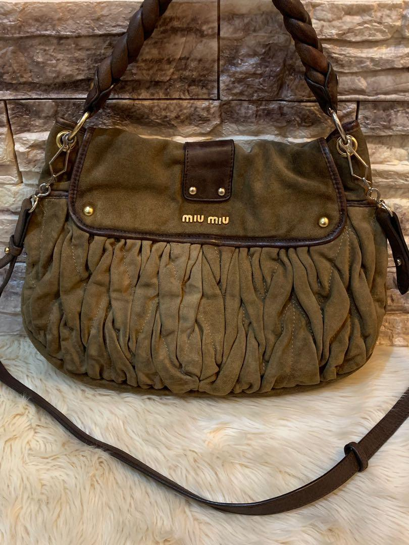 Tas miu miu two face original authentic full suede leather cakep kokoh size 38 cm made in Turkey