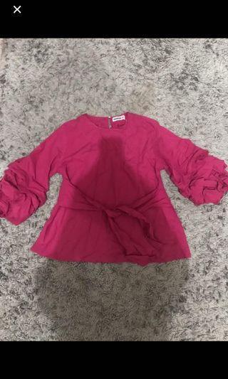 Blouse ruffle kimono pink