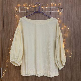 🚚 Yellow and white striped blouse