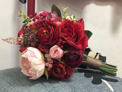 結婚花球 絲花花球 出門 紅色