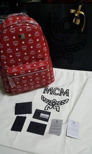 MCM Backpack Fire Red Brand New From Shop L Size