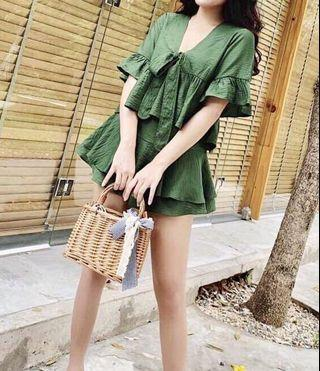 Summer casual set: green short sleeved ruffled blouse with ribbon and skort (skirt/shorts), beachwear, resort #MRTRaffles #MRTJurongEast