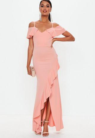 Missguided Strappy Cold Shoulder Pink Maxi Dress