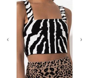 Shopakira Zebra Print Square Crop Top
