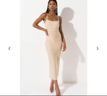 Shopakira Bandage Cream Midi Dress