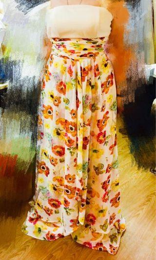 碎花長晚裝 晚禮服 floral evening dress party dress