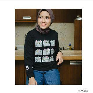 Sweater Black Cat Face