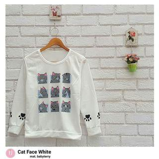 Sweater Putih Cat Face