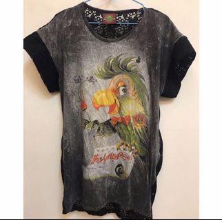 鸚鵡蕾絲寬鬆長版上衣