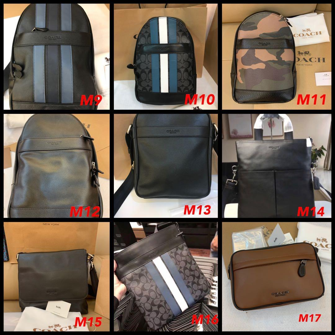 (08/07/19)Ready Stock original Coach men backpack wallet traveller bag money clips clutch card holder coach leather belt coin pouch ipad holder phone case briefcase office bag