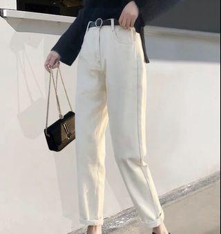 🚚 ulzzang high waist mom jeans (white)