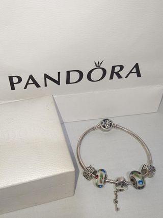 Original Pandora Poetic bloom with 5 charms murano pendant heart