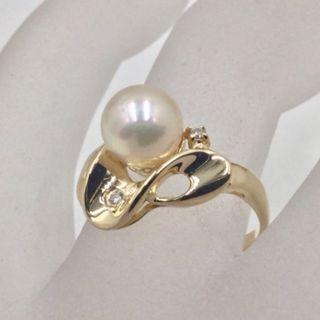 日本養珠 585 黃K金珍珠戒 珍珠直徑7.0mm 配鑽2P 總重量2.63公克 戒圍10號
