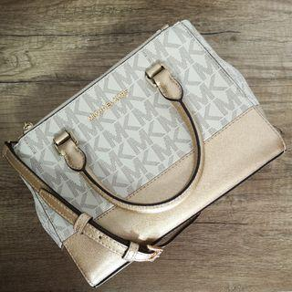 BNWT Michael Kors Kellen Signature XS Satchel Shoulder Bag Vanilla Pale Gold | Handbag | Crossbody | Sling | Real Leather
