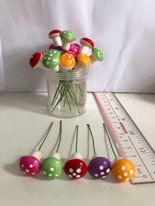 DIY 迷你彩色蘑菇盆栽裝飾品 創意擺件 全新