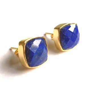 BNIP Blue lapis lazuli gemstone 24k gold plated stud earrings