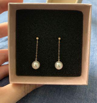 14K Gold Pearl Earring