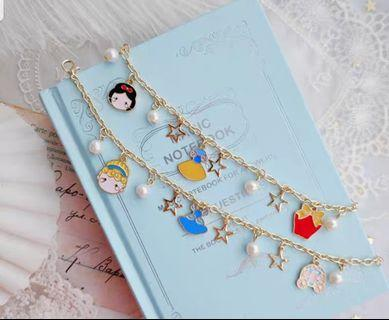 Cinderella and aniw white cute bracelet