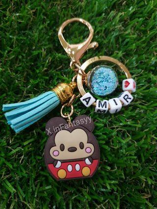 Mickey mouse keychain with customised name