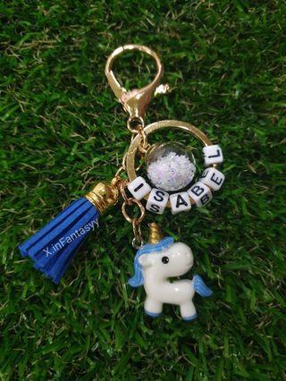 Pony keychain with customised name