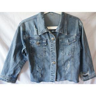 denim blue shimmering jacket牛仔外套