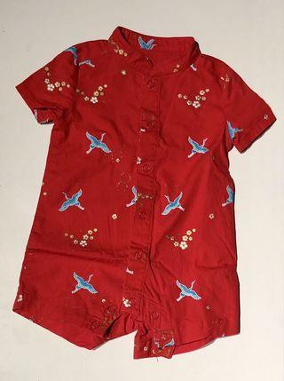 The Elly Store Red Cranes Mandarin-collar Boy Romper