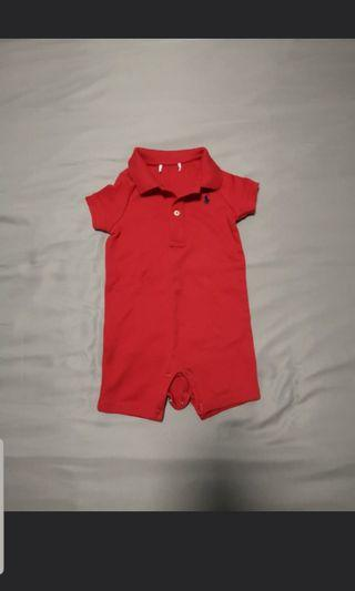 Authentic Polo Ralph Lauren red romper (6 months)