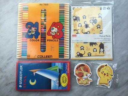 木顏色筆 (兩盒) + 信紙 + 寵物小精靈卡紙