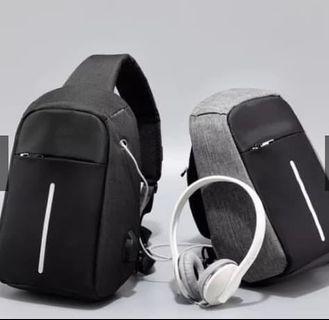 Tas anti maling pria atau wanita port kabel usb charging