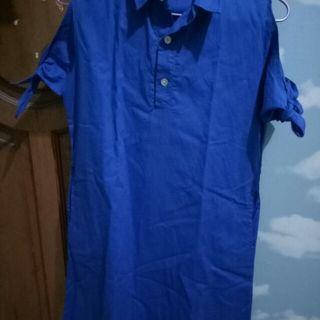 Off shoulders dress blue
