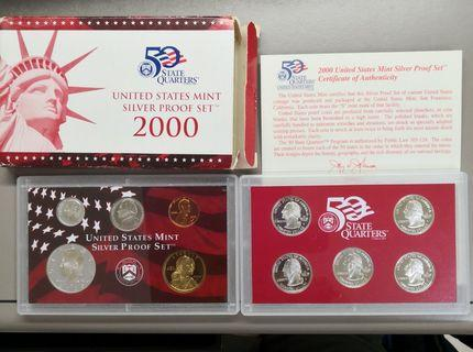 全新2000年美國精裝銀幣套裝連證書