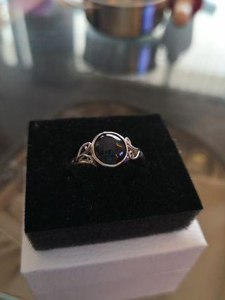 Silver ring with natural stone setting