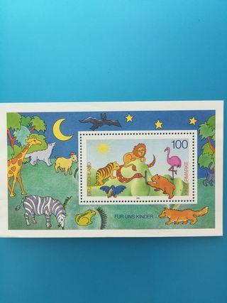 外國郵票—德國郵票卡通動物小型張