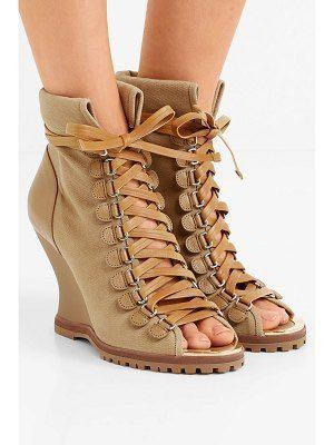 Chloe river canvas and leather wedge ankle boots