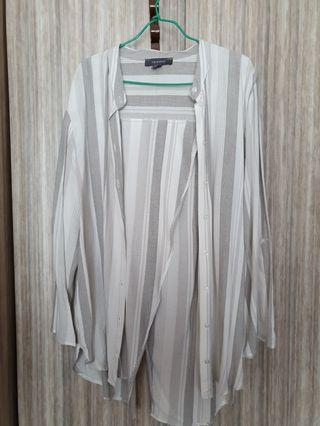 Grey and white stripes long sleeve blouse