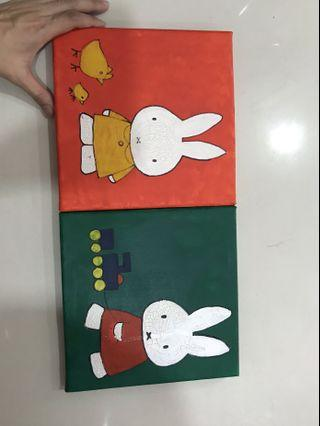 Miffy small canvas Hand drawn and painted