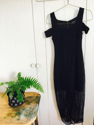New Mossman black lace maxi dress