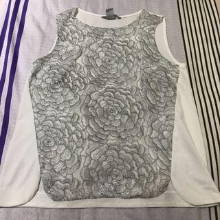 H&M TOP SILVER EMBROIDERED