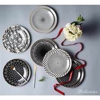 (PO) 3pc Ceramic Geometric Plates