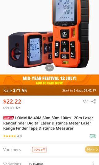 Lomvum Digital Laser Meter Distance (40m)
