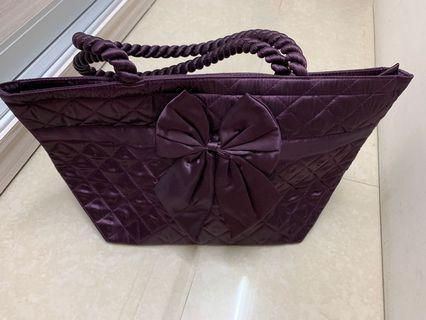 Naraya satin shoulder bag (one purple one brown)